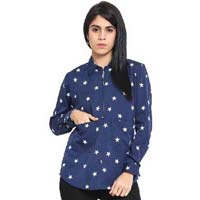 Women Top Star Print Ladies Top