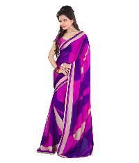 Purple Net Chiffon Graphic Saree