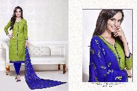 Green Blue Cotton Dress Material