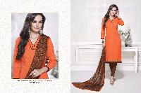 Orange and Brown cotton dress material