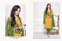 Yellow Green Cotton Dress Material