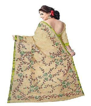 Bengal Cotton Designer Saree With Aari Work And Hand Paint