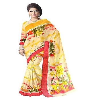 Bengal Cotton Designer Saree With Applique Work And Hand Painted