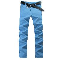 Mens Solid Cotton Flat Front Casual Trousers
