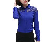 Womens Embroidery Flower Design Chiffon Formal Shirts
