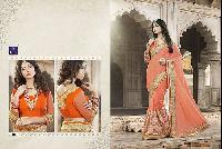 Royal Orchid Georgette Heavy Embroidery Work Saree