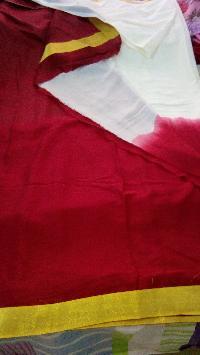 Mysore Crepe Silk Saree , Red-white With Zari Print Bprder