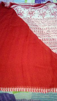 Red-designer Printed With White Contrast  Pure Georgette Saree