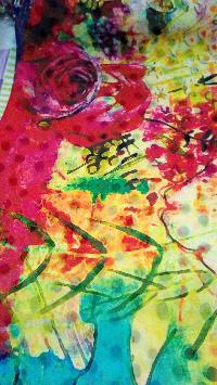 Yellow Muti Coloured Digital Printed Chiffon Saree