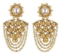 Indian Beautiful Antique Gold Polished With Kundan Stone Earrings
