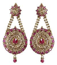Indian Fashion Dangle Goldtone With Red Stone Party Wear Earring