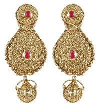 Indian Fashion Dangle GoldTone With Red Stone Party Wear Earring For Girls