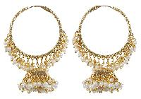 Indian Style Traditional Fashion Pearls With Jhumki Polki Earrings (6031)