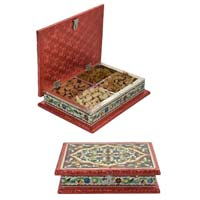 White Metal Dry Fruit Box With 4 Partition In Enamel Work HP-WM-520