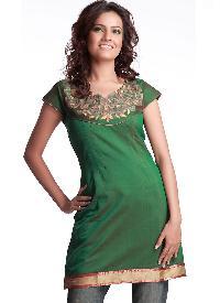 Flawless Thread Embroidered Deep Green Silk Kurta