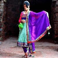 Blue Embroidered Anarkali Suit
