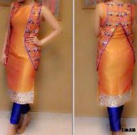 ORNAGE KOTI STYLE REAL MIRROR WORK SUIT