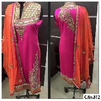 PINK GEORGETTE REAL MIRROR WORK STRAIGHT CUT SUIT