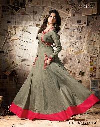 Skyblue Fashion Party wear Long Anarkali type Salwar suit1
