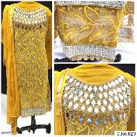 YELLOW COLOR GEORGETTE EMBROIDRED REAL WORK STRAIGHT SUIT
