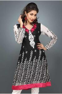 Black, Off White And Red Faux Georgette Embroidered Tunic