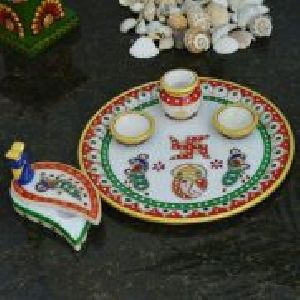Marble Decorative Cup And Plate Set