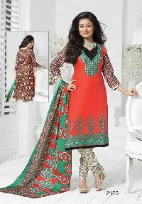 Red Multi Colour Cotton Dress Material
