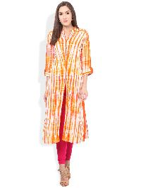 Hand Tie Dyed Designer Orange Rayon Kurta