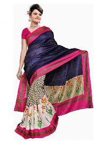 Purple Bhagalpuri Silk With Printed Designer Saree R-10