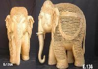 White Wood Elephant