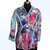 Ladies Cotton Printed Front Open Tops
