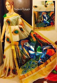 Hand Painted Kerala Sarees