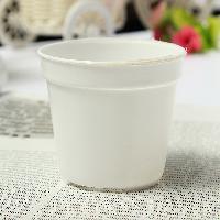 White Round Plastic Flower Pot