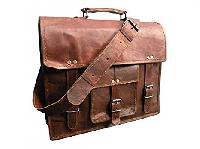 Purpledip Messenger Leather Bag - Half Flap Satchel for Lapt