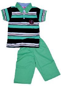 Boys Green Polo T-Shirt & Capri Set