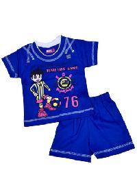 Boys Blue Round Neck T-Shirt & Capri Set