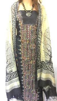 Unstitched Designer Pure Silk Kantha Stitch Suits