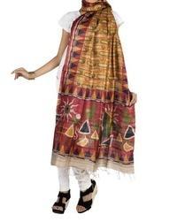 Riaa Ethnic Tussar Silk Hand Block Printed Full Dupatta