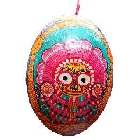 Hanging Hand Carved Painted Coconut