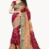Jacquard Printed Bandhani Sarees