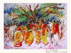 Paintings - Traditional Indian Dance ( Basanta Utsav)