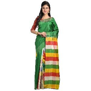 Pure Silk Multicolored Plain Handloom Saree
