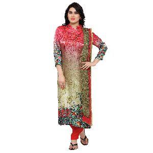 Brilliant Printed Work Pure Gaji Silk Straight Suit