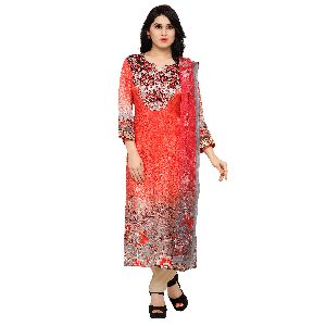Glamorous Red Digital Printed Party Wear Suit