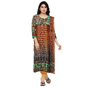 Trendy Digital Printed Pure Satin Pakistani Salwar Kameez