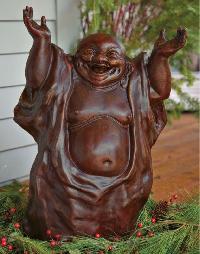 White Marble Laughing Buddha Statue
