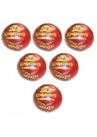 Bdm King Fisher League Leather Cricket Ball 6 Ball Set - Sabkifitness.com