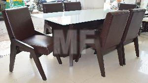 Dining Set with White Back Painted Glass Top