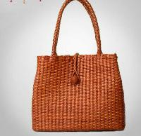Ladies Leather Hand Woven Tote Bag