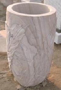 White Stone Flower Pots
